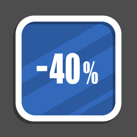 40 percent sale retail blue flat design square web icon