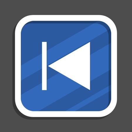 Prev blue flat design square web icon Stock fotó