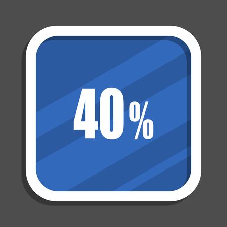 40 percent blue flat design square web icon