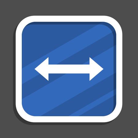 Arrow blue flat design square web icon