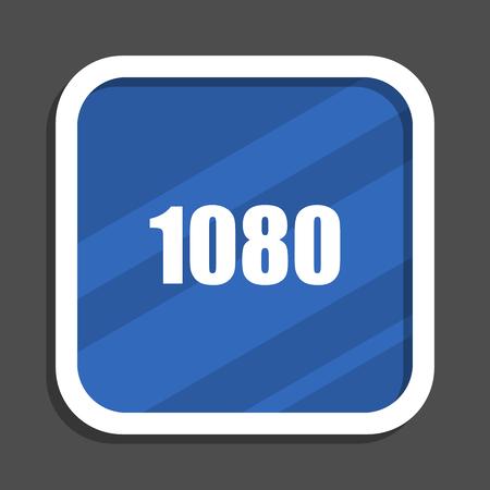1080 blue flat design square web icon