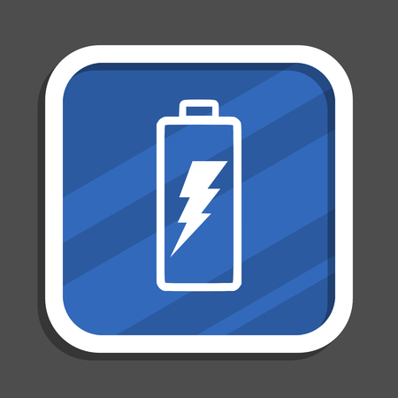 Battery blue flat design square web icon