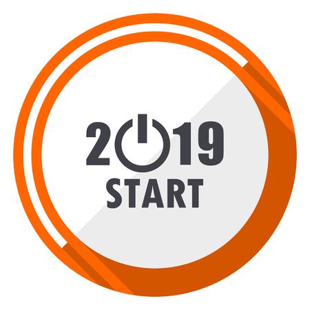 New year 2019 flat design vector web icon. Round orange internet button isolated on white background. Illustration