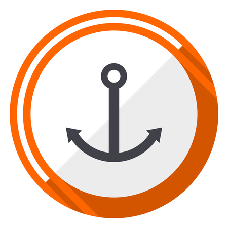 Anchor flat design vector web icon. Round orange internet button isolated on white background.