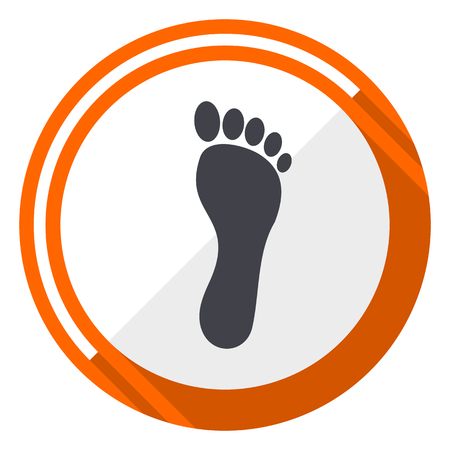 Foot flat design vector web icon. Round orange internet button isolated on white background. 向量圖像