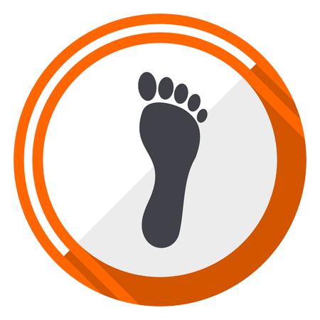 Foot flat design vector web icon. Round orange internet button isolated on white background. Vettoriali