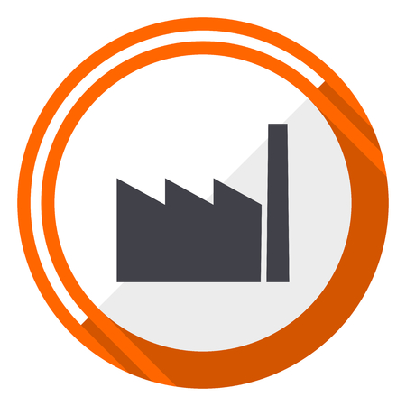 Factory flat design vector web icon. Round orange internet button isolated on white background.