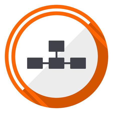 Database flat design vector web icon. Round orange internet button isolated on white background. Illustration