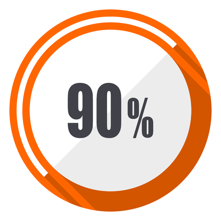 90 percent flat design vector web icon. Round orange internet button isolated on white background.
