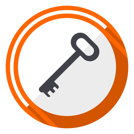 Key flat design vector icon