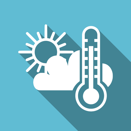 Weather forecast symbol with thermometer sun and clouds flat design vector blue icon