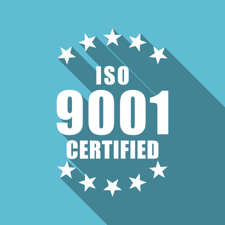 Iso 9001 text symbol flat design vector blue icon