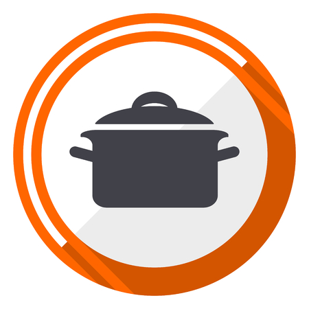 Cook flat design orange round icon illustration.  イラスト・ベクター素材
