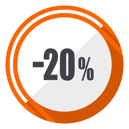 20 percent sale retail flat design orange round vector icon in eps 10