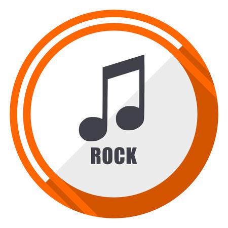 Rock music flat design orange round vector icon in eps 10