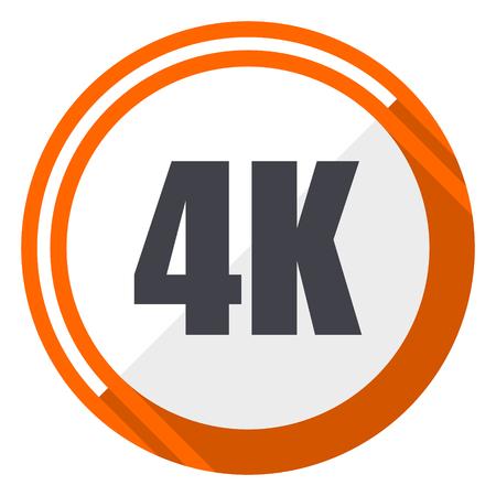 4k flat design orange round vector icon in eps 10 Illustration