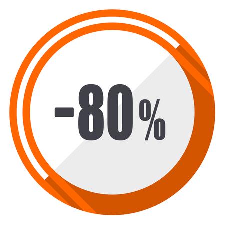 80 percent sale retail flat design orange round vector icon in eps 10