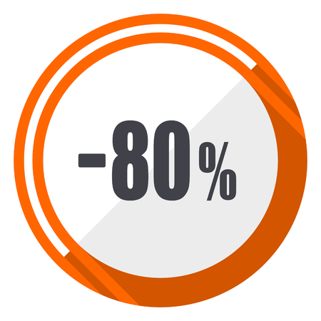 80 percent sale retail flat design orange round vector icon in eps 10