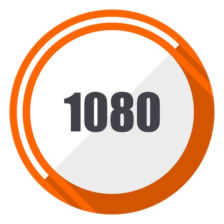 1080 flat design orange round vector icon in eps 10