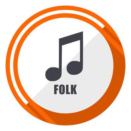 Folk music flat design orange round vector icon in eps 10 Illustration