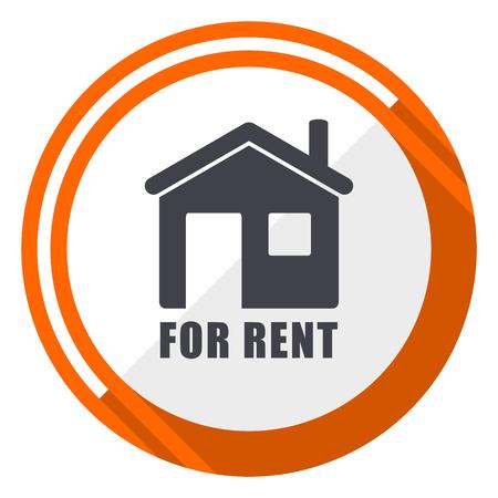 For rent flat design orange round vector icon in eps 10