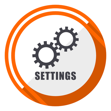 Settings flat design orange round vector icon in eps 10
