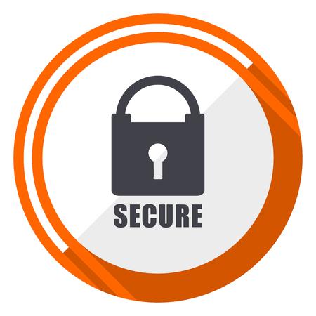 Secure flat design orange round vector icon in eps 10 Illustration