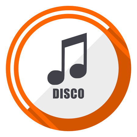 Disco music flat design orange round vector icon in eps 10