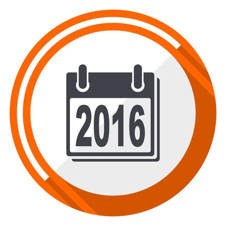 New year 2016 flat design orange round vector icon in eps 10