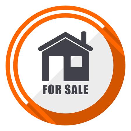 For sale flat design orange round vector icon in eps 10