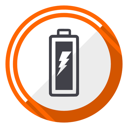 Battery flat design orange round vector icon in eps 10