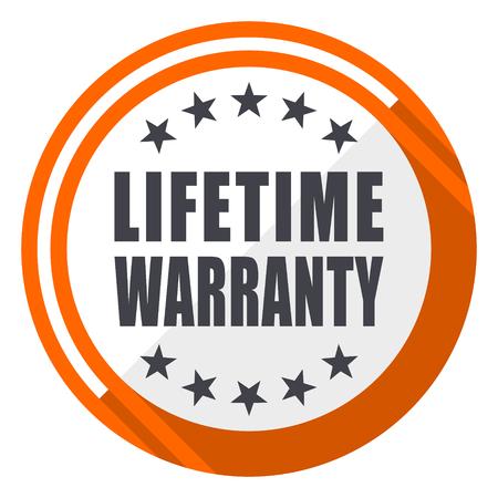 Lifetime warranty flat design orange round vector icon in eps 10 Illustration