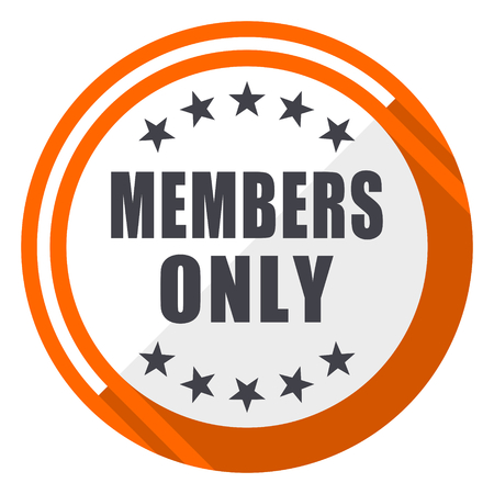 Members only flat design orange round vector icon in eps 10
