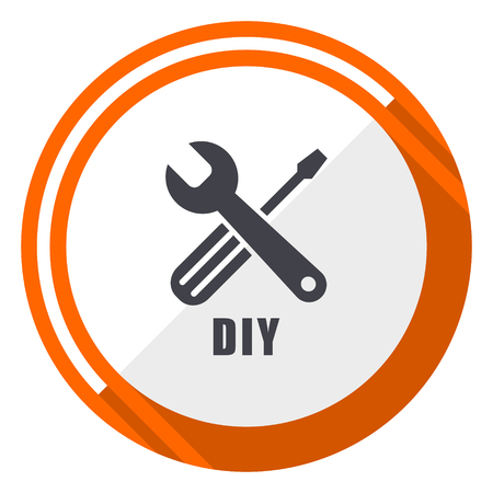 Diy flat design orange round vector icon in eps 10