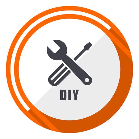 Diy flat design orange round vector icon in eps 10
