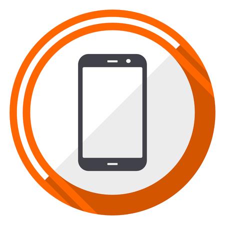 Smartphone flat design orange round vector icon in eps 10