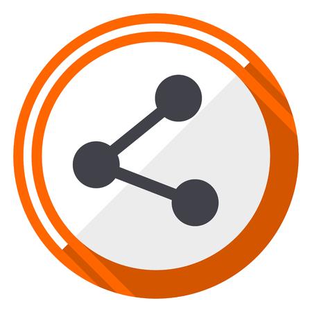 Share flat design orange round vector icon in eps 10 Illustration