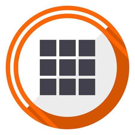 Thumbnails grid flat design orange round vector icon in eps 10 Illustration