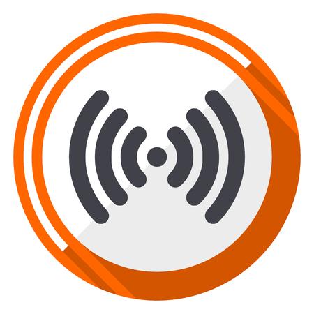 Wifi flat design orange round vector icon in eps 10