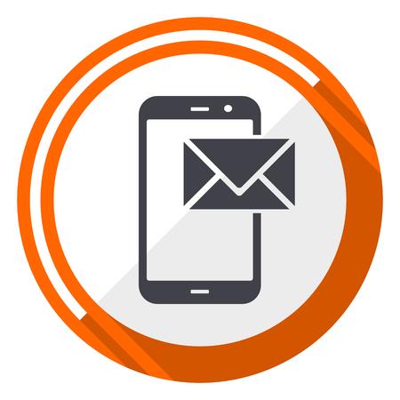 Mail flat design orange round vector icon in eps 10