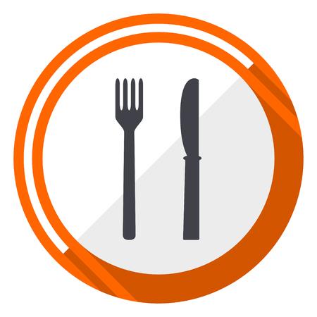 Eat flat design orange round vector icon in eps 10 Illustration