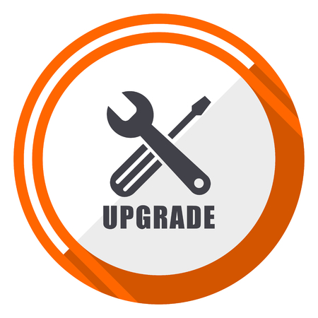 Upgrade flat design orange round vector icon in eps 10