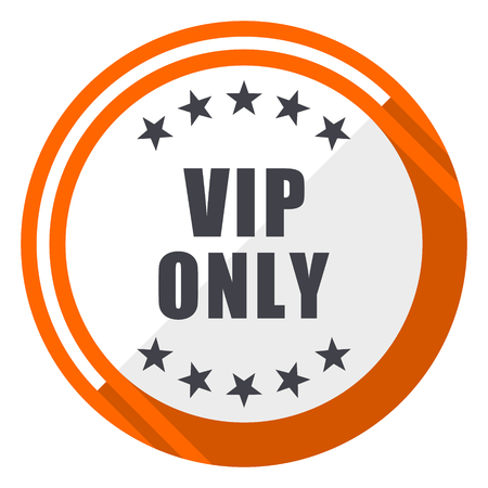 Vip only flat design orange round vector icon in eps 10 Illustration