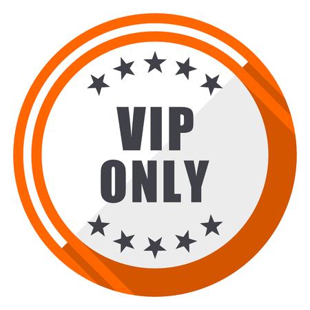 Vip only flat design orange round vector icon in eps 10 Vettoriali
