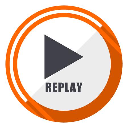 Replay flat design orange round vector icon in eps 10 일러스트