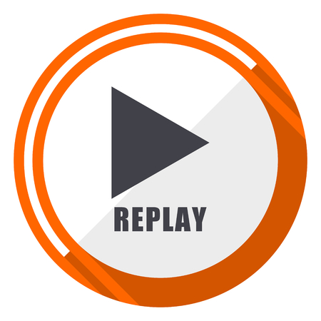 Replay flat design orange round vector icon in eps 10 Illustration