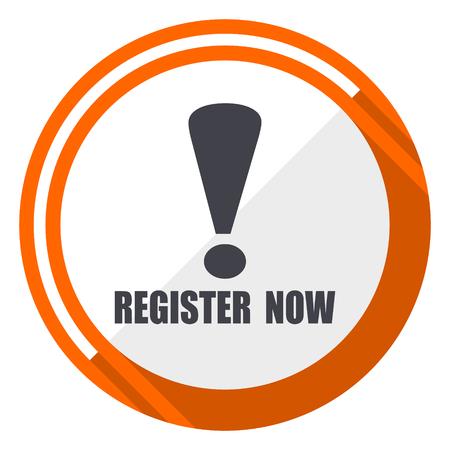 Register now flat design orange round vector icon in eps 10