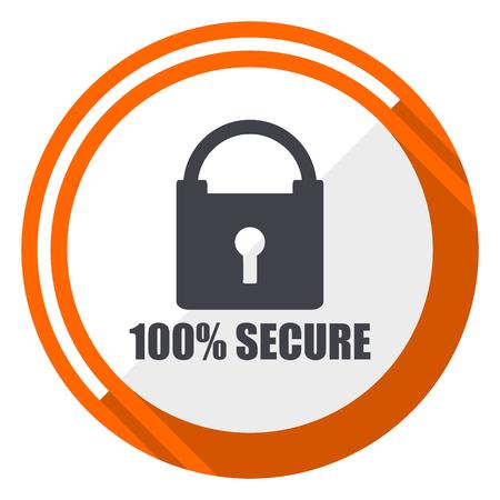 Secure flat design orange round vector icon in eps 10 Illusztráció