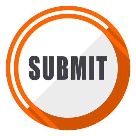 Submit flat design orange round vector icon in eps 10 일러스트
