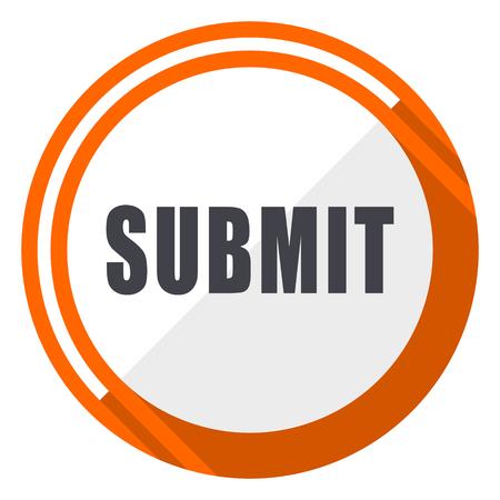 Submit flat design orange round vector icon in eps 10 Ilustracja